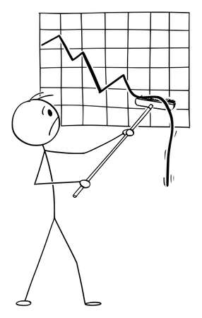 Businessman or Trader Is Frustrated by Falling Financial Graph, Vector Cartoon Stick Figure Illustration