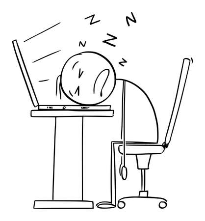 Sleeping on Computer Keyboard, Tired or Overworked Office Worker or Businessman in Office, Vector Cartoon Stick Figure Illustration