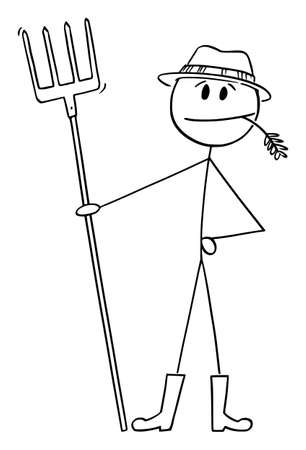 Farmer Standing with Fork Chewing Grass, Vector Cartoon Stick Figure Illustration