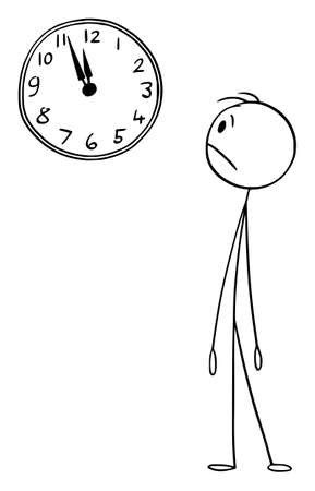 Worried Man or Businessman Watching Wall Clock, Vector Cartoon Stick Figure Illustration Vectores