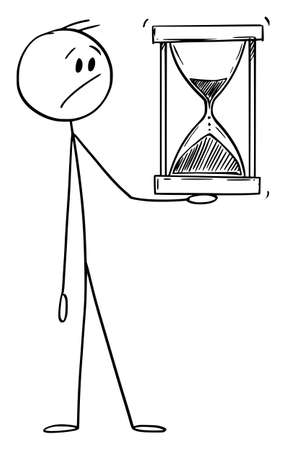 Worried Man or Businessman Holding Hourglass or Sandglass, Vector Cartoon Stick Figure Illustration