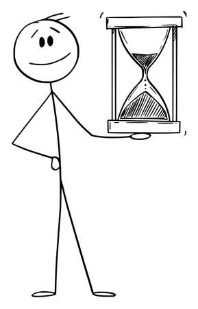 Smiling Man or Businessman Holding Hourglass or Sandglass, Vector Cartoon Stick Figure Illustration