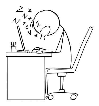 Office Worker or Businessman Sleeping While Working on Computer, Vector Cartoon Stick Figure Illustration