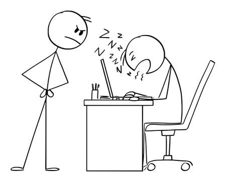 Boss Looking at Employee Sleeping at Work, Vector Cartoon Stick Figure Illustration