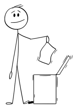 Smiling Man or Businessman Throwing Piece of Paper in Waste Bin, Vector Cartoon Stick Figure Illustration Vectores