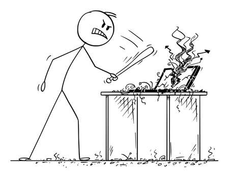 Angry Man or Businessman Destroyed Computer with Baseball Bat, Vector Cartoon Stick Figure Illustration Vectores