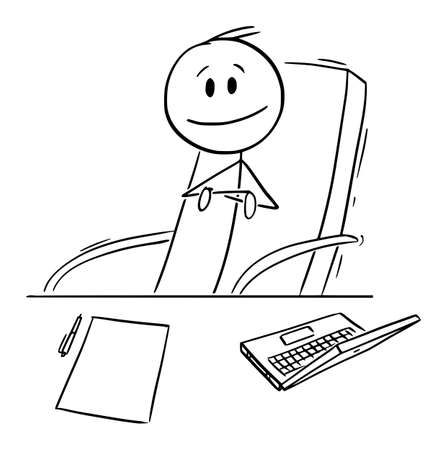 Boss or Manager Sitting on Chair Behind His Office Desk,Vector Cartoon Stick Figure Illustration