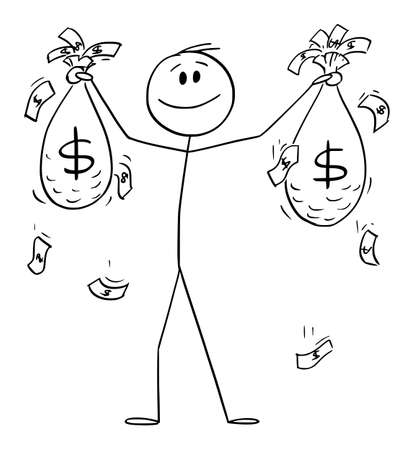 Happy Successful Man or Businessman Holding Bags of Money or Dollars , Vector Cartoon Stick Figure Illustration