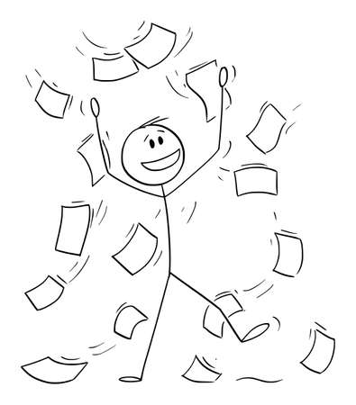 Office Working Celebrating With Falling Papers or Documents, Vector Cartoon Stick Figure Illustration Vectores