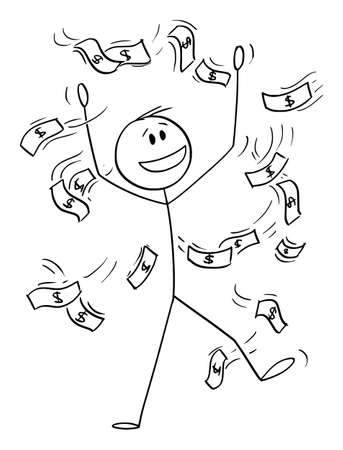 Successful Businessman Celebrating Success With Money Falling or Raining , Vector Cartoon Stick Figure Illustration