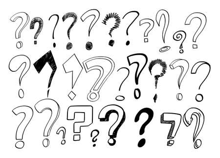 Question Mark Set, Sketchy Cartoon Hand Drawing, Symbol of Asking
