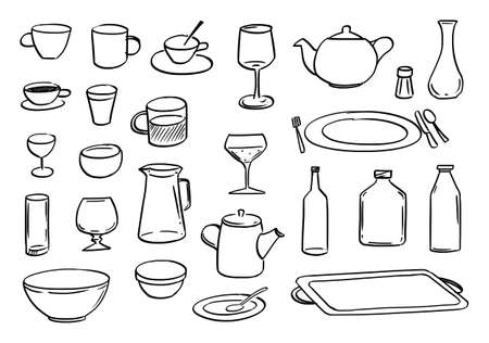 Dishes or Tableware Set, Sketchy Cartoon Hand Drawing