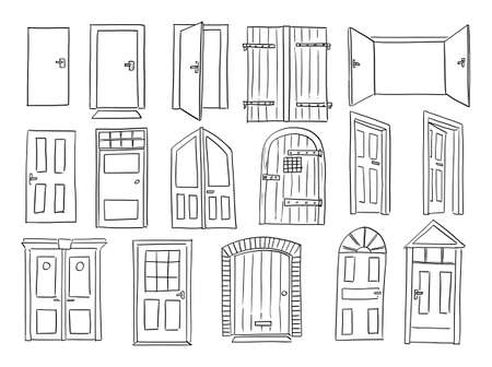 Door and Gates Set, Old and Classic Style, Sketchy Cartoon Hand Drawing