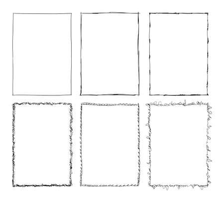 Set of Sketchy Ornamental Frames, Cartoon Hand Drawing