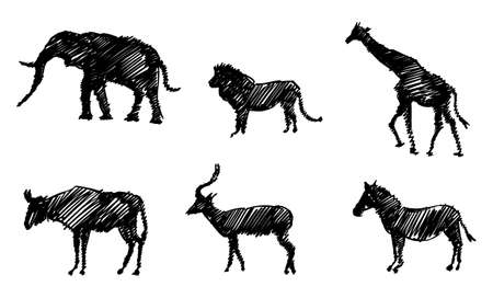 Set of Sketchy Silhouettes of Animals of Africa. Elephant, Giraffe, Lion, Impala, Zebra and Gnu. Stock Illustratie