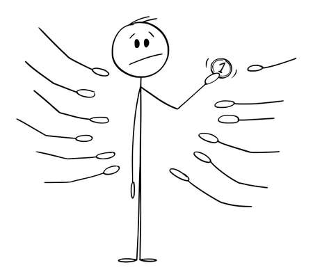 Man Holding Coin, Outstretched Palms or Hands Asking for Money , Vector Cartoon Stick Figure Illustration Stock Illustratie