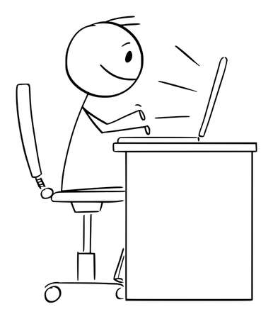 Person or Office Worker Working or Typing on Computer, Vector Cartoon Stick Figure Illustration Stock Illustratie