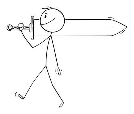 Person or Warrior Carrying Big Sword to Battle, Vector Cartoon Stick Figure Illustration