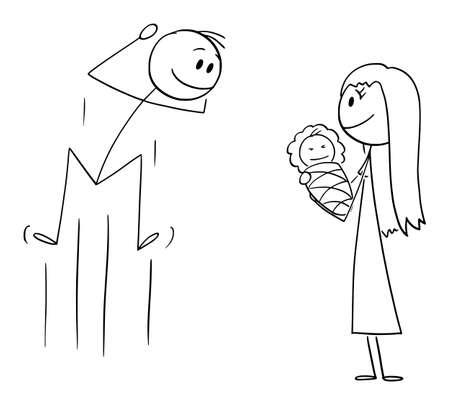 Father Happy to See His New Born Baby , Vector Cartoon Stick Figure Illustration