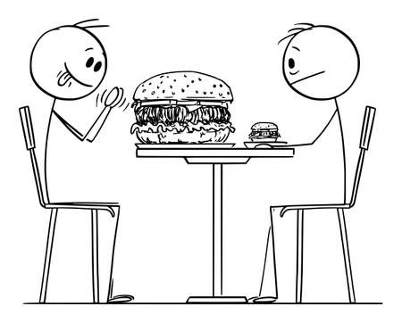 Person Enjoying Big or Bigger Burger in Restaurant or Fast Food, Vector Cartoon Stick Figure Illustration