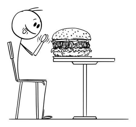 Person Enjoying Big Burger in Fast Food Restaurant, Vector Cartoon Stick Figure Illustration