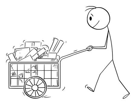 Person Pushing Full Handcart With Boxes or Purchase, Vector Cartoon Stick Figure Illustration Ilustração