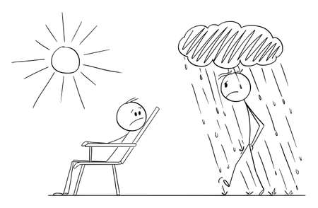 Man Is Enjoying Nice Day and Good Mood and Another Person Is Going in Bad Mood, Vector Cartoon Stick Figure Illustration
