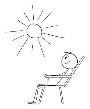 Man Sitting in Garden Chair Enjoying the Sunny Day , Vector Cartoon Stick Figure Illustration Ilustração