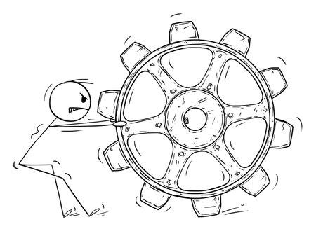 Person Dragging Big Cogwheel, Concept of Problem Solution, Inspiration and Idea, Vector Cartoon Stick Figure Illustration Ilustração