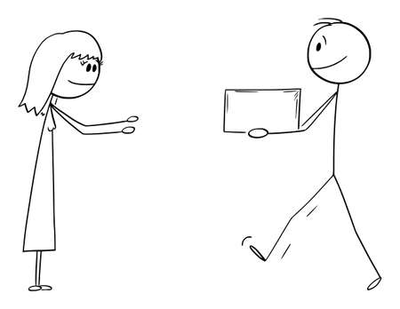 Man or Messenger Carrying or Giving Box or Gift to Woman, Vector Cartoon Stick Figure Illustration