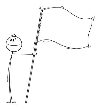 Proud Person Holding White or Empty Flag, Vector Cartoon Stick Figure Illustration