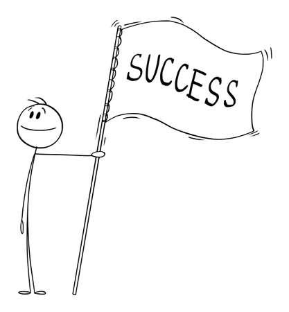 Proud Businessman Holding Success Flag, Vector Cartoon Stick Figure Illustration