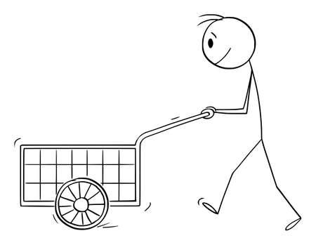 Person Pushing Empty Handcart, Vector Cartoon Stick Figure Illustration