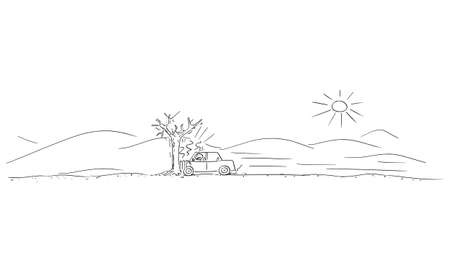 Car Crash Accident into Tree, Driver Hit the Only Tree in Empty Desert, Vector Cartoon Stick Figure Illustration