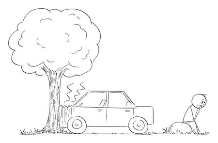 Car Crash Accident into Tree, Frustrated and Depressed Driver Is Waiting for Assistance, Vector Cartoon Stick Figure Illustration