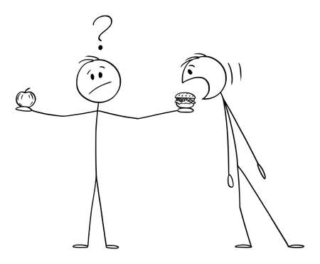 Person Is Holding Apple Fruit and Burger or Hamburger, Thinking About Healthy Eating and Lifestyle, Vector Cartoon Stick Figure Illustration