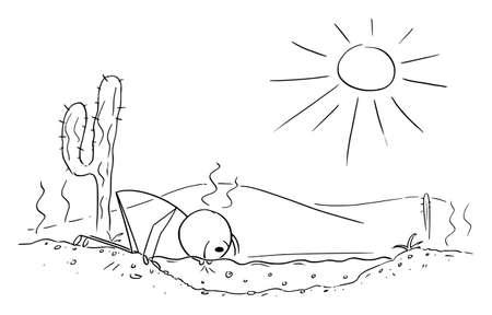 Thirsty Person Drinking Fresh Water on Desert, Vector Cartoon Stick Figure Illustration