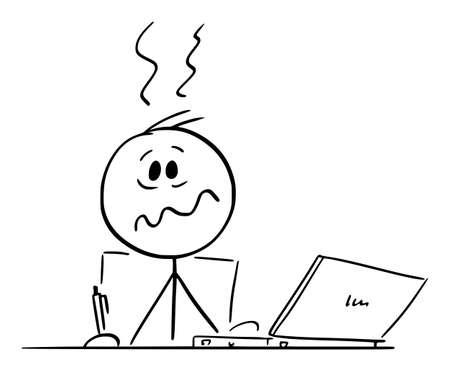 Stressed Overworked Person or Man Sitting Behind Desk Working in Office on Computer, Vector Cartoon Stick Figure Illustration Ilustração