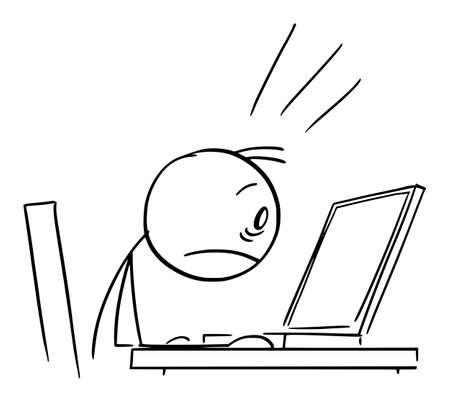 Shocked Person Working in Office and Watching Computer Display, Vector Cartoon Stick Figure Illustration