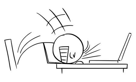 Businessman or Worker Banging Head Against the Office desk , Vector Cartoon Stick Figure Illustration