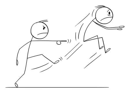 Boss or Employer Kicking Out Employee or a Man, Vector Cartoon Stick Figure Illustration
