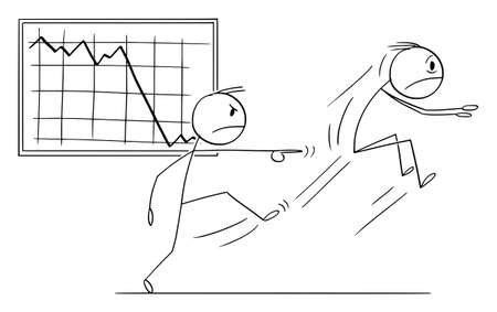 Boss or Owner Kicking Out Manager or Employee for Bad Results, Vector Cartoon Stick Figure Illustration