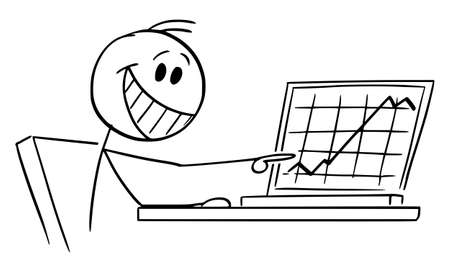 Happy Successful Businessman or Investor Showing Raising Financial Graph on Computer, Vector Cartoon Stick Figure Illustration
