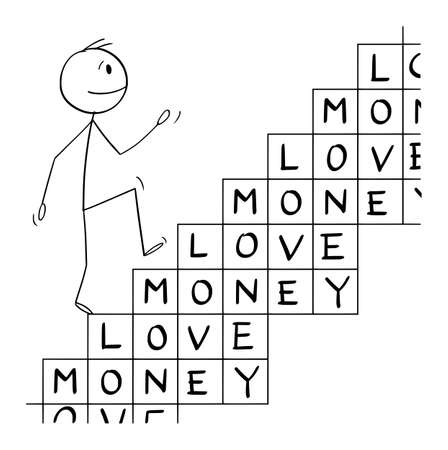 Person Loving Money Climbing For Wealth and Success ,Vector Cartoon Stick Figure Illustration