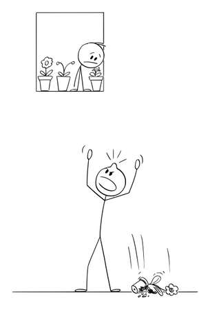Angry Person Yelling on Street, Flower Pot Fall From Window on His head, Vector Cartoon Stick Figure Illustration