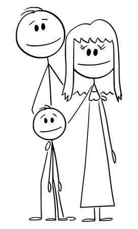 Portrait of Happy Family, Vector Cartoon Stick Figure Illustration Ilustração