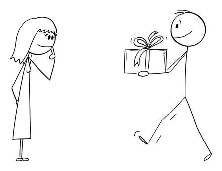 Man Giving Present or Gift to Woman or Girl, Vector Cartoon Stick Figure Illustration Illustration