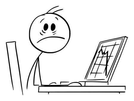 Shocked businessman and Falling Graph on Computer Display, Vector Cartoon Stick Figure Illustration