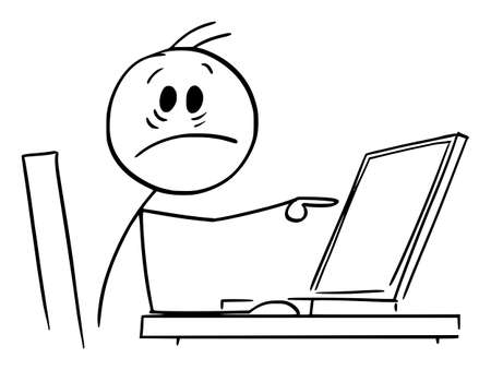 Shocked Person Working in Office and Pointing at Computer Display, Vector Cartoon Stick Figure Illustration Illustration