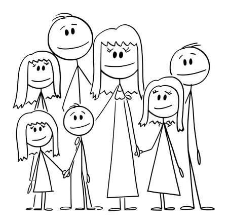 Portrait of Big Happy Family with Five Children, Vector Cartoon Stick Figure Illustration
